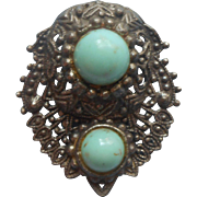 Dress Clip Vintage 1930s 1940s Turquoise Color Glass Cabochons