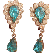 Aqua Rhinestone Earrings Vintage Dangle Drop Screw Backs 1940s 1950s