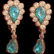 Aqua Rhinestone Earrings Vintage Dangle Drop Screw Backs 1940s 1950s