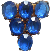 1930s Dress Clip Bright Blue Glass Stones Vintage