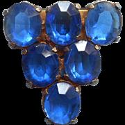 1930s Dress Clip Bright Blue Glass Stones Vintage