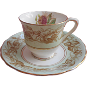 Demitasse Victoria Bone China Chelsea Pattern Cup Saucer Pink Rose Green White Gold