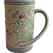 Nippon Era Moriage Novelty Mug Vase Large Sweep Handle Hand Painted China Green