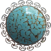 Vintage Pin Turquoise Blue Art Glass Cabochon Rhodium Plated