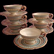 Aqua Gold Vintage Rosenthal Demitasse Cups Saucers Hand Painted