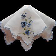 Vintage Hankie Hand Embroidered Blue Pansies