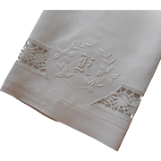 Monogram K Antique Towel Linen Lace Hand Embroidery White Work