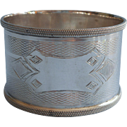 Antique Napkin Ring Silver Plated Handsome Machine Turned Decoration