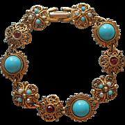 Signed ART Vintage 1960s Victorian Revival Bracelet TLC Faux Turquoise
