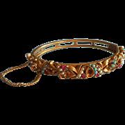 Florenza Vintage 1960s Hinged Bangle Bracelet Victorian Revival Faux Turquoise