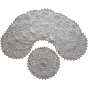 1920s Dessert Doilies Luncheon Vintage Linen Filet Lace Hand Embroidery Cutwork