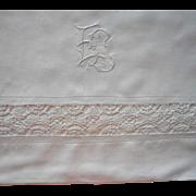Vintage Italian Linen Sheet Reticella Lace Monogram E. L.  Circa 1920
