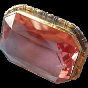ca 1920 Pin Pink Cut Crystal Stone Brass Frame Vintage