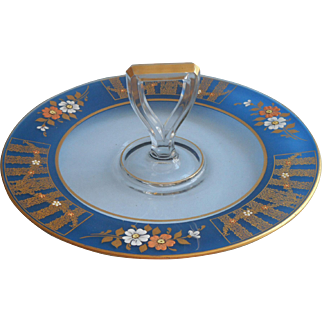 1920s Hand Painted Glass Center Handle Serving Plate Tray Blue Band Gold