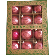 Vintage Pink Glass Christmas Tree Ornaments in Box 11