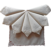 Vintage Napkins Set 8 Linen Bobbin Lace Hand Embroidery