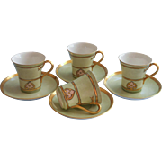 Haviland French Limoges Hot Chocolate Cups Saucers Gold Pale Green Hand Painted