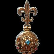 Vintage Coro 4 Side Locket On Fleur De Lis Watch Pin