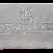 Vintage Italian Linen Sheet Monogram M. M. R. Circa 1920 Fancy Hemstitching