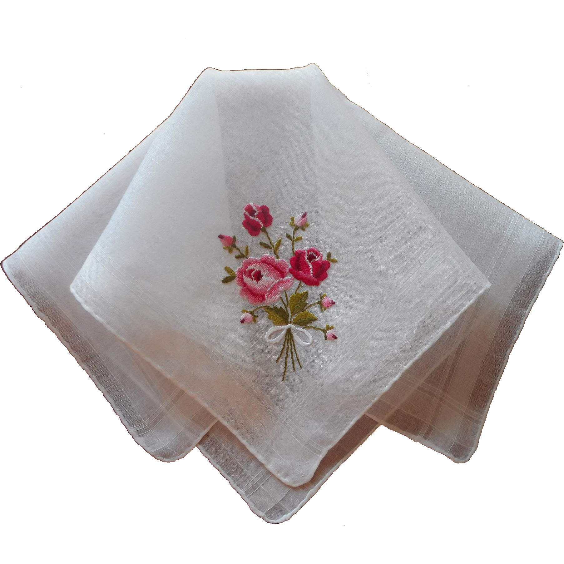 Vintage Hankie Petit Point Hand Embroidery Roses Pink Red