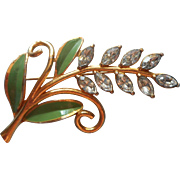 Vintage Coro Leaf Spray Pin Rhinestones Painted Leaves