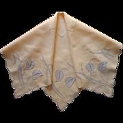 Marghab Water Leaf Tea Tablecloth Vintage Madeira Linen Appliqued Hand Embroidered