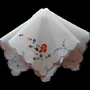 Vintage Hankie Swiss Hand Embroidery Poppies Cornflowers