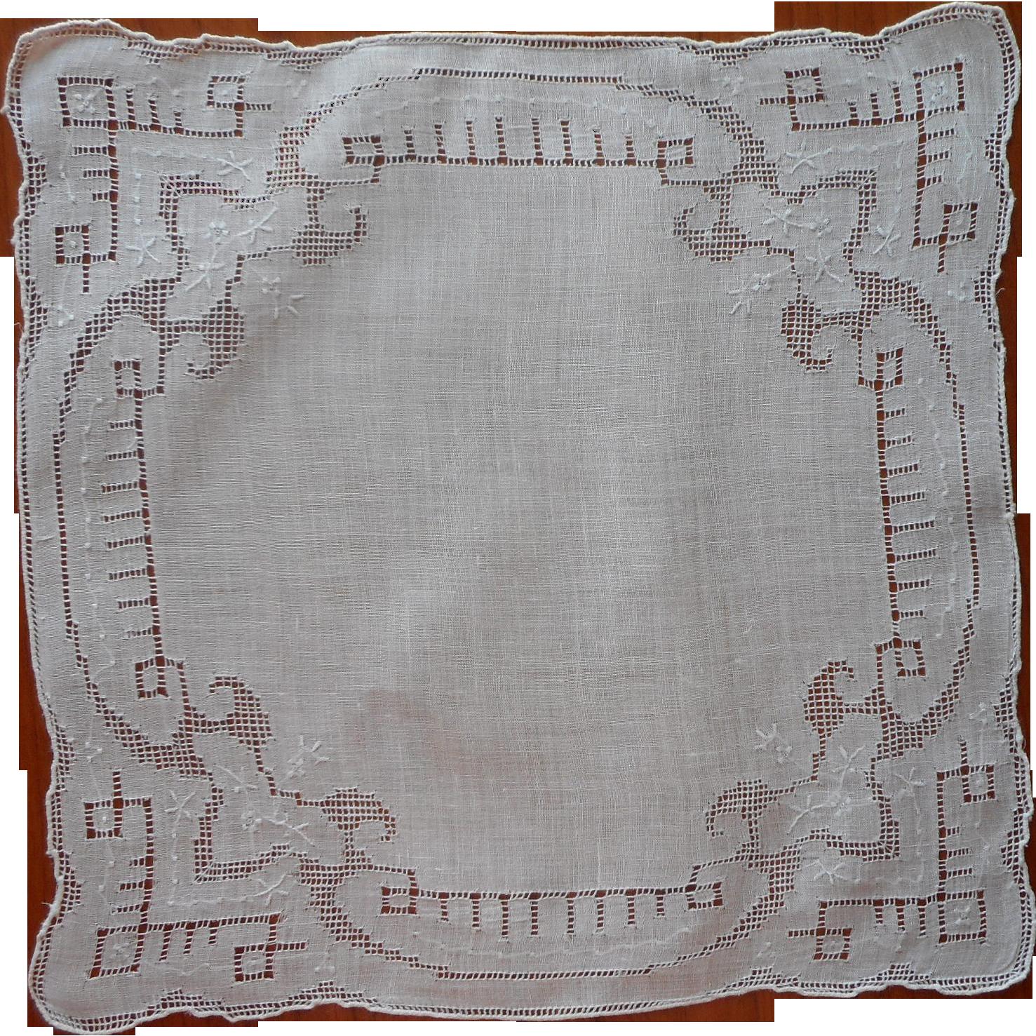 Vintage Hankie Linen Drawn Work Hand Embroidery