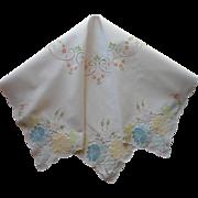 Tea Tablecloth Vintage Pastel Appliqued Hand Embroidered TLC