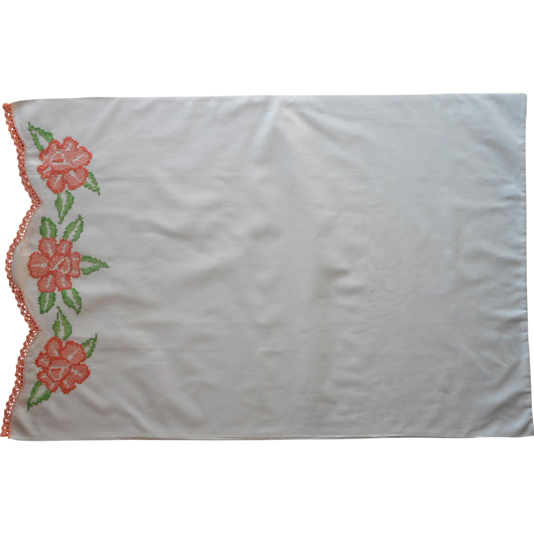 Vintage Pillowcase Hand Embroidered Peach Coral Green Crocheted Lace Cotton