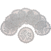 Filet Net Lace Finger Bowl Doilies Antique Set 8 Roses