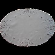 Antique Cutwork Centerpiece Linen Pumpkins Hand Embroidery Unusual Motif