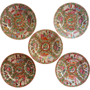 Rose Medallion Antique Chinese 5 Bread Plates Hand Painted China