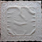 Antique Square Linen Wide Lace Topper Centerpiece