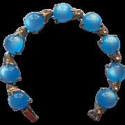 1930s Bracelet Vintage Art Deco Blue Plastic Cabochons Rhinestones