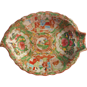 Rose Medallion Antique Chinese Tobacco Leaf Form Dish Hand Painted China