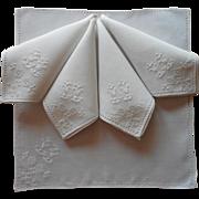 Italian Work Napkins 5 Vintage Linen Hand Embroidered