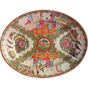 Rose Medallion Antique Chinese Platter Hand Painted China