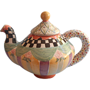 Mackenzie Childs Teapot Vintage Taylor Oddfellows Full Size Unused