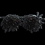 Vintage 1960s Shoe Clips Black Plastic Beads Fringe Cluster Musi