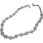 Vintage Beads Unusual White Swirls In Clear Faceted Glass Loose To Make Necklace