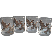 Arthur Court Vintage Set 4 Ducks Glasses Unused Double Old Fashioned