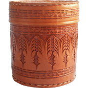 Vintage Tooled Leather Canister Shape Box Desk Accessory