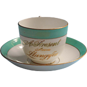 Victorian Souvenir Cup Saucer Llangefni Llangefin Green Gold White Antique China
