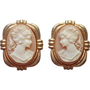 Vintage Earrings Cameo Pretty Resin 1980s Clip