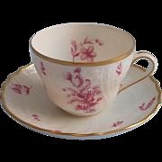 Demitasse Cup Saucer Vintage Hutschenreuther Deep Pink Gold White China Dresden
