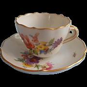 Meissen Demitasse Cup Saucer Vintage Dresden Royal Flute
