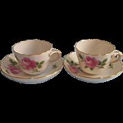 Meissen Demitasse Cup Saucer 2 Vintage Pink Rose Royal Flute