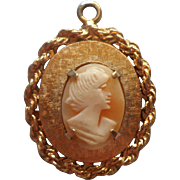Vintage Charm Large For Bracelet Carved Shell Cameo Gold Tone Metal