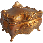 Antique Art Nouveau Brainard Wilson Jewelry Casket Box River Cottage Scene